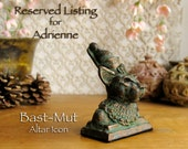 RESERVED for Adrienne - Bast-Mut Altar Icon Statue - Anthropomorphic Goddess - Bast's role as Queen - Handcrafted with Bronze Patina Finish