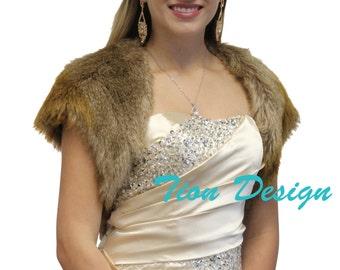 Bridal Bolero, faux fur bolero jacket Vintage Brown, fur shrug, fur stole, fur coat, fur shawl