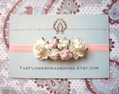 Ivory and Pink Baby Headband - Floral Headband - Flower Headband - Newborn Headband - Flower Crown - Headpiece