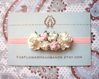 Ivory and Pink Baby Headband - Floral Headband - Flower Headband - Newborn Headband - Flower Crown - Headpiece
