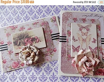2 Victorian Inspired Greeting Cards - Pinks Blank All Occasion