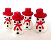 4 snowman beads, lampwork glass beads, white and red, snowmen lampwork beads