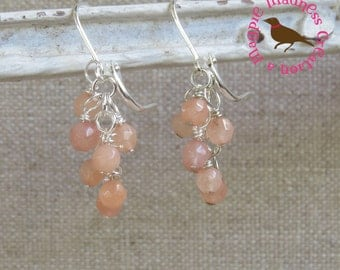 Petite Peach Aventurine Cluster Earrings, Peach Cluster Earrings, Light Weight, Dangle, Aventurine, Peach by MagpieMadness for Etsy