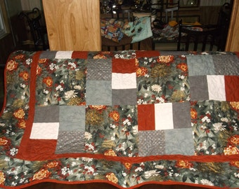 """TWIN  LAP QUILT Reduced Price Oriental Theme appx 62"""" X 84""""Large flowers lined in shiny goldgrey, black, white and rust/  Mother's Day Gift"""