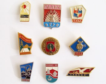 USSR Badges, Russian Metal Pins, 1960s, 1970s, 1980s, Souvenir Badges, Soviet Union Advertising, Commemorative Pins, Father's Day Gifts