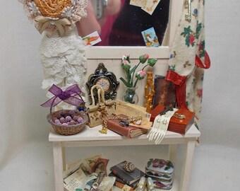 Dolls house miniature Antiqued Cream Filled Hallstand