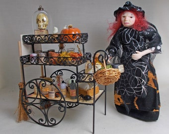 Dolls house Miniature Filled Witch Shop / market Cart Display