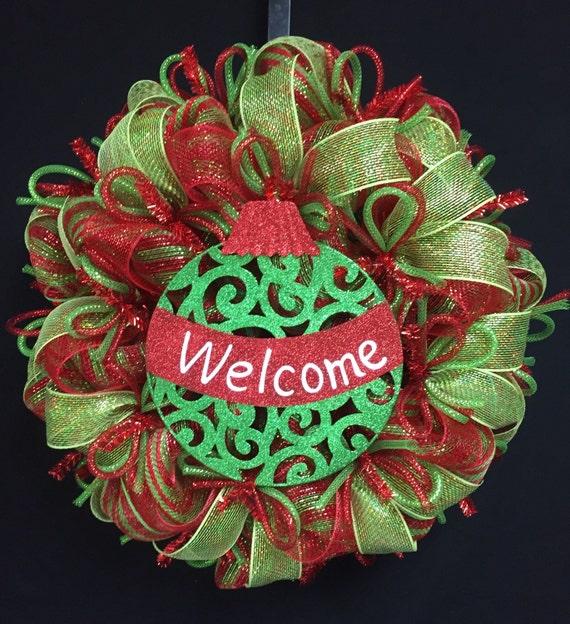 welcome christmas wreath on - photo #12