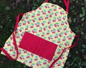 Childs apron Little apron sweet red cherries on polka dots small apron