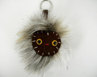 Kawaii Handbag Charm Faux Fur Pom Pom Keychain Monster Keychain Cute tween bag accessory accessories bag charm white tan chocolate brown
