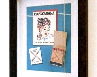Copacabana New York Wall Decor Collectible Matchbook Wall Art New York Gift NY Collectible Gift Bar Wall Decor Retro New York City