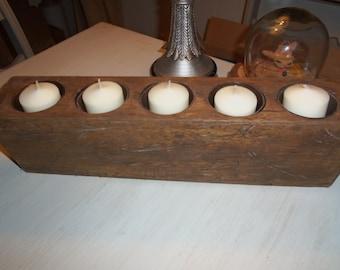Solid Wood 5 Hole Sugar Mold, Mexico, Rustic, Centerpiece, Candles, Weddings, Organization
