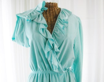 Exquisite Aqua Teal Blue Lounging Bath Robe Ruffle Neckline 1960 Floor Length New Old Vintage Stock Unworn Size Large