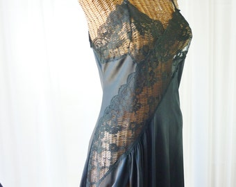 Black Lace Nightgown Early Frederick's Of Hollywood ILGWU Union Made U.S.A. Deadstock Unworn Size Large