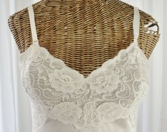 Dress Slip Champagne See Through Lace Cups by Lorraine Six Inch Lace Sides Pristine