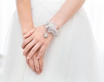 Bridal Cuff, Bridal Bracelet, Rhinestone Bracelet, Bridal Jewelry, Vintage Inspired, Bridal Accessories