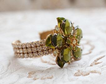 Bridal Rhinestone Cuff with Vintage Green Flower, Bridal Bracelet, Bridal Cuff, Wedding Jewelry, Bridesmaid Gift, Wedding Accessories
