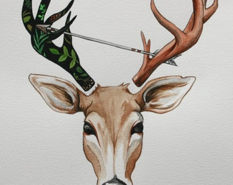 Deer and Arrow Print Watercolor 10 x 11 inch