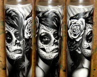 Prayer Candle - Duality - Tattoo Art Sugar Skull Girl - Decorative Home Decor Functional Art Candle