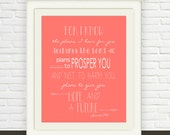 Jeremiah 29:11 Printable // Bible Verse Wall Art // Instant JPEG Download // Coral Scripture Art // Hope and Future Christian Print
