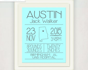Blue and Grey Birth Announcement Wall Art // Custom City State Birth Print Boys & Girls // Personalized Kid's Nursery // Picture Baby Gift