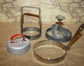 Vintage Lot of Kitchen Utensils - Kwik Kut - Androck - Egg Ring - Biscuit Cutter - item #1294