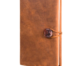 """Bark Brown Leather Journal with Natural Jasper Bead 5.5"""" x 8"""""""