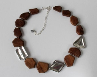Wood Silver Geometric  Asymmetric Necklace