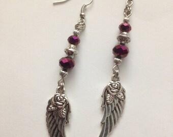 AB Wine colored Crystal Wing with Rose Earrings,Dangle Earrings, Earrings, For Her, Gift Idea