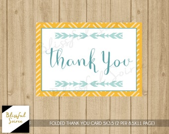 Printable Tribal Thank You Card | Folded Thank You Card | Tribal | Thanks | Baby Shower Thank You Card | Yellow and Teal | BS26