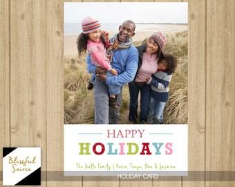 Custom Photo Christmas Card / Happy Holidays / Christmas Card / Holiday Card / DIY Printable / Pink Red Green Blue / Simple