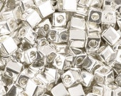 Seed Beads-1.8mm Cube-961 Bright Sterling Plated-Miyuki-7 Grams