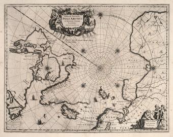 Historical Arctic Ocean Nautical Chart, 17th Century Map Fine Art Reproduction MP044