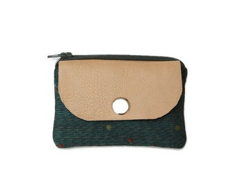 Teal Blue Coin Purse & Card Holder with Leather Accent and Polka Dots, Stylish Pocket Wallet, Card Case, Zippered Pouch