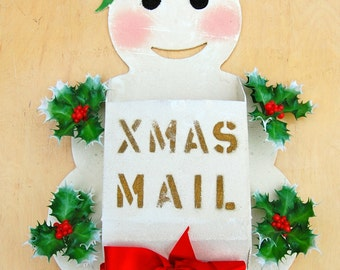 Have a Merry Kitschmas with this awesome vintage snowman Xmas Mail box / card holder.