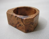 Faceted Black Cherry Burl Ring