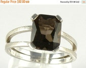 Smoky Quartz Sterling Silver Ring , Smoky Quartz Engagement Ring Split Shank Ring , Emerald Cut Ring Brown Smoky Quartz Ring Gift For Women