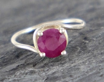 Ruby Engagement Ring, July Birthstone Ring, Opaque Ruby Ring, Sterling Silver Ring, Ruby Jewelry Romantic Gift For Her Red Gemstone Ring
