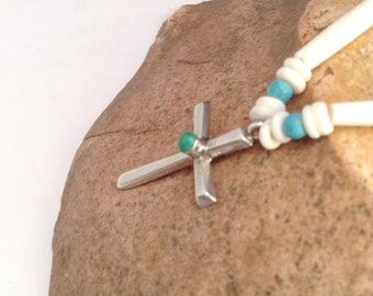 Sterling Silver Cross with Turquoise Stone Necklace