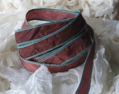 Hand Dyed Painted Habotai - Silk Wrap Bracelet - wine with aqua edging - Fairy Ribbon, Silk Bracelet, Ribbon Wrap, Ribbon, diy bracelet