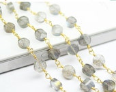 VALENTINE SALE 55% 14 Inches Gold Plated gems bead Link Chain Natural Labradorite Faceted Round Cut Coin Beads, SKU2529/S