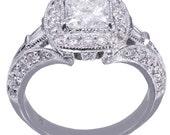GIA H-VS2 14k White Gold Princess Cut Diamond Engagement Ring Deco 1.80ctw