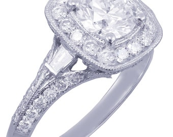 14k White Gold Round Cut Diamond Engagement Ring Antique Style Prong Set 1.75ctw