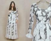 70s Maxi Dress Grey Floral Lace Sheer Prairie Ruffle Cuffs Empire Waist 1970s Hippie Boho Long Sleeve Flared Skirt Romantic / Size S Small