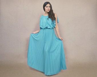 70s Goddess Dress Turquoise Boho Drape Pleated Maxi Gown 1970s Disco Prom Billowy Bodice / Size M Medium