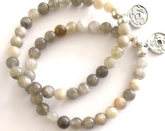 Grey Moonstone Gemstone Bracelet with IChing Coin Charm