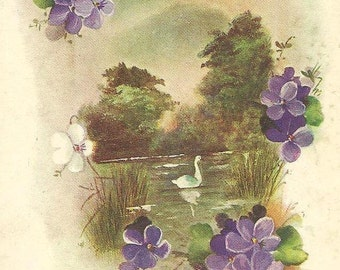 Swan on Secluded Lake with Purple Violets Vintage Birthday Postcard Wildt & Kray  1917