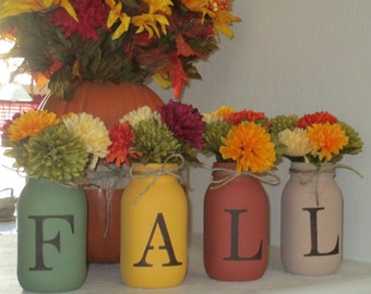 Set of 4 Hand Painted Mason Jars, Autumn, Home Decor, Fall Decor, Thanksgiving, Centerpiece, Fall, Country