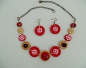 Button necklace,button jewelry,vintage necklace,red and white button necklace,get earrings at the same colors for free