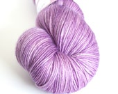 Light purple hand-dyed MCN yarn   Round Table Yarns Camelot in Dindrane   fingering weight